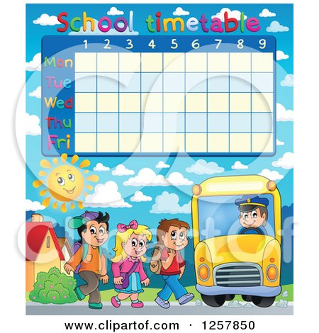 Clipart of a School Timetable with Children Loading a Bus - Royalty Free Vector Illustration by visekart