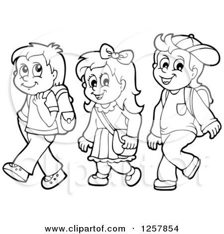School Children Black And White Clipart