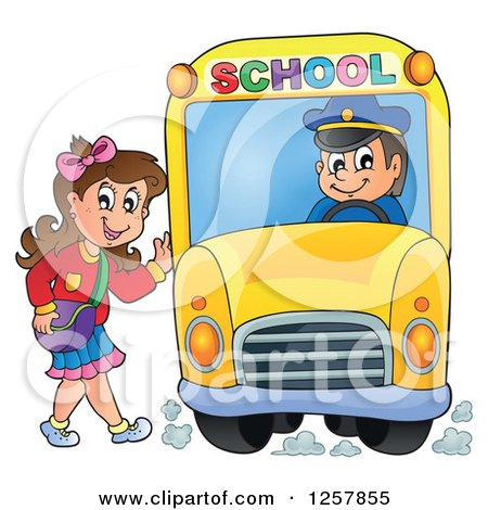 Clipart of a Brunette White School Girl Waving and Boarding a Bus - Royalty Free Vector Illustration by visekart