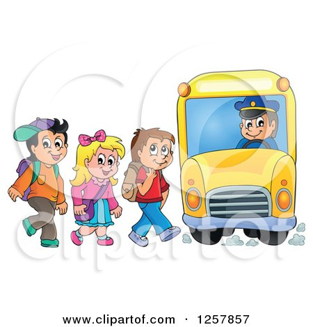 Clipart of a Group of School Children Boarding a Bus - Royalty Free Vector Illustration by visekart