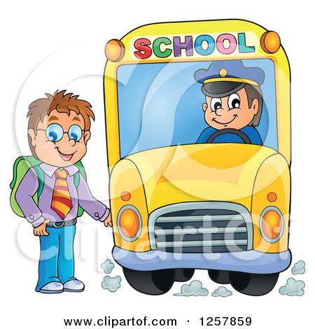 Clipart of a Brunette White Boy Boarding a School Bus - Royalty Free Vector Illustration by visekart