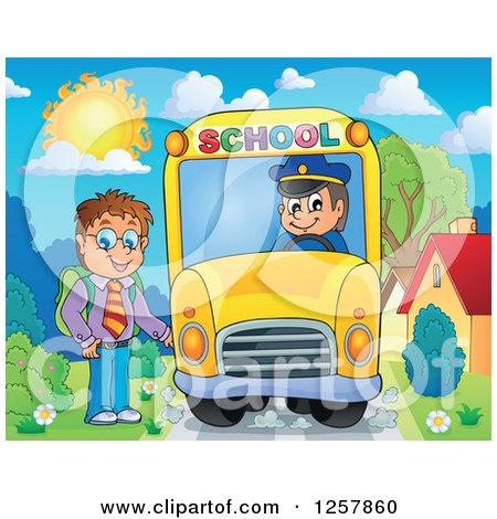 Clipart of a Brunette White School Boy Boarding a Bus - Royalty Free Vector Illustration by visekart