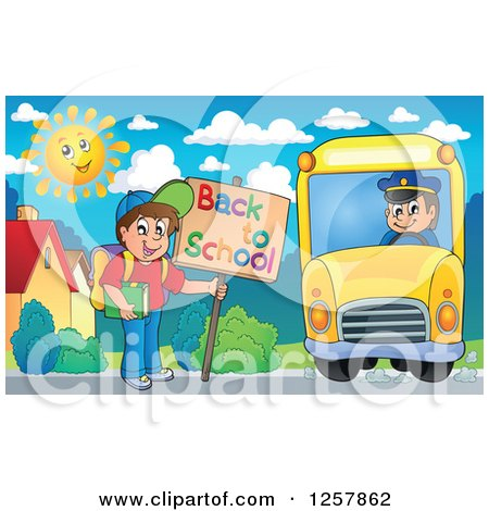 Clipart of a Boy Holding a Back to School Sign and Boarding a Bus - Royalty Free Vector Illustration by visekart