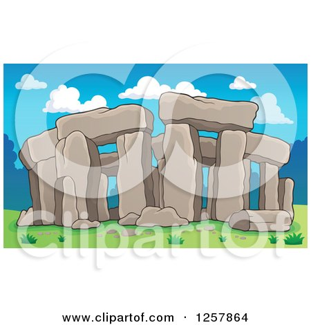 Clipart of Ruins of Stonehenge on a Sunny Day - Royalty Free Vector Illustration by visekart
