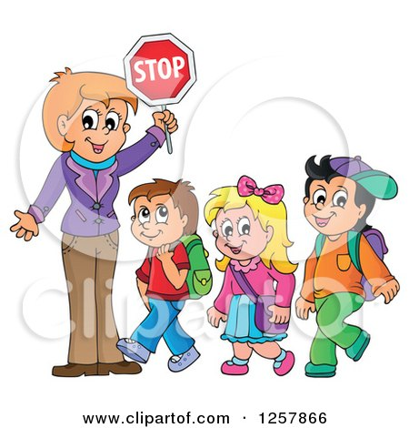 Clipart of a Woman Crosswalk Guardian Holding a Stop Sign over Walking School Children - Royalty Free Vector Illustration by visekart