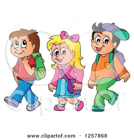 Clipart of Three Happy Caucasian School Children Walking - Royalty Free Vector Illustration by visekart