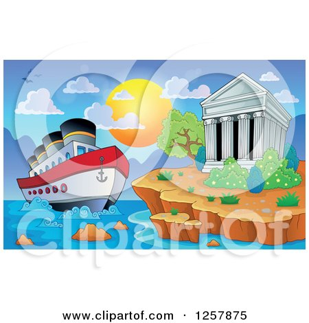 Clipart of the Acropolis of Athens with a Cruise Ship in Greece - Royalty Free Vector Illustration by visekart