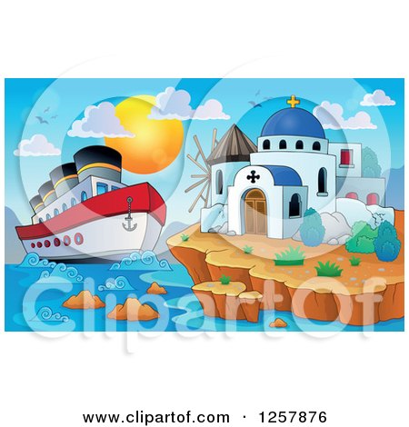 Clipart of a Cruiseship by a Coastal Greek Church and Windmill - Royalty Free Vector Illustration by visekart