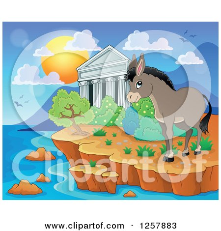 Clipart of the Acropolis of Athens with a Donkey in Greece - Royalty Free Vector Illustration by visekart