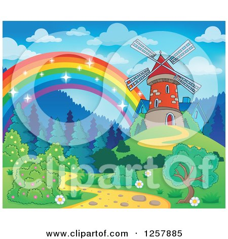 Clipart of a Rainbow Ending at an Old Windmill - Royalty Free Vector Illustration by visekart