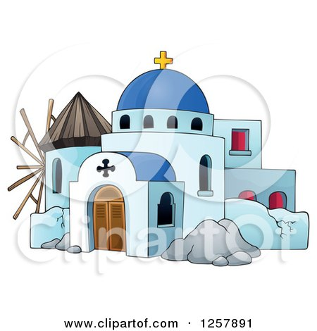 Clipart of a Windmill and a Greek Church - Royalty Free Vector Illustration by visekart