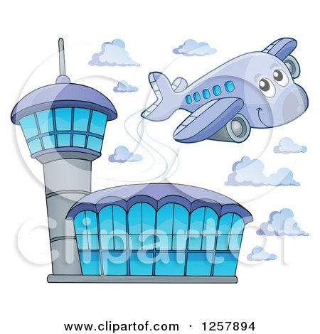 Clipart of a Cute Happy Airplane Flying over an Airport - Royalty Free Vector Illustration by visekart