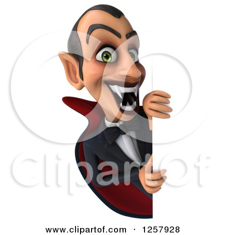 Clipart of a 3d Dracula Vampire Baring His Fangs Around a Sign - Royalty Free Illustration by Julos