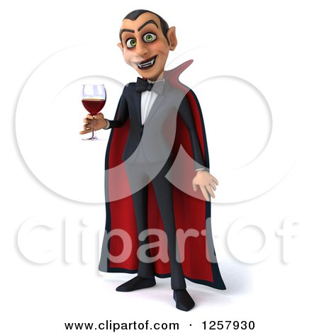 Clipart of a 3d Dracula Vampire Holding a Glass of Wine or Blood - Royalty Free Illustration by Julos