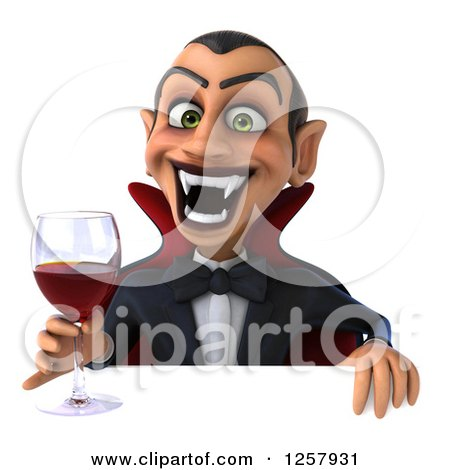 Clipart of a 3d Dracula Vampire Holding a Glass of Wine or Blood over a Sign - Royalty Free Illustration by Julos