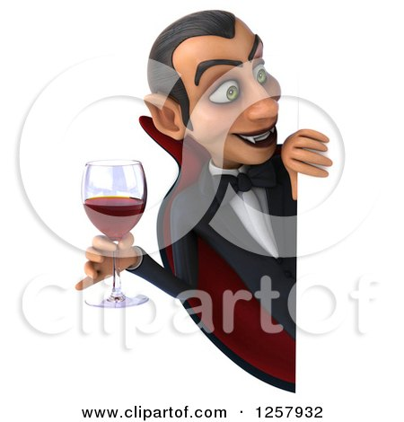 Clipart of a 3d Dracula Vampire Holding a Glass of Wine or Blood Around a Sign - Royalty Free Illustration by Julos