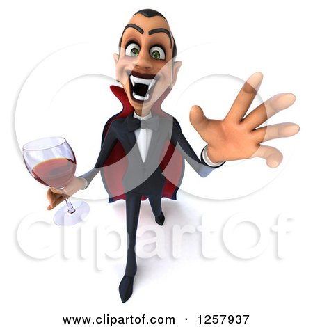 Clipart of a 3d Attacking Dracula Vampire Holding a Glass of Wine or Blood - Royalty Free Illustration by Julos