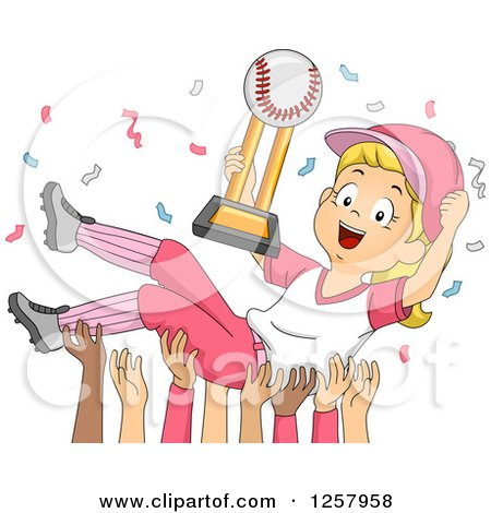 Clipart of a Happy Blond White Baseball Player Girl with Confetti and a Trophy and Team Holding Her up - Royalty Free Vector Illustration by BNP Design Studio