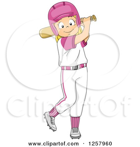 Clipart of a Happy Blond White Girl Swinging a Baseball Bat - Royalty Free Vector Illustration by BNP Design Studio