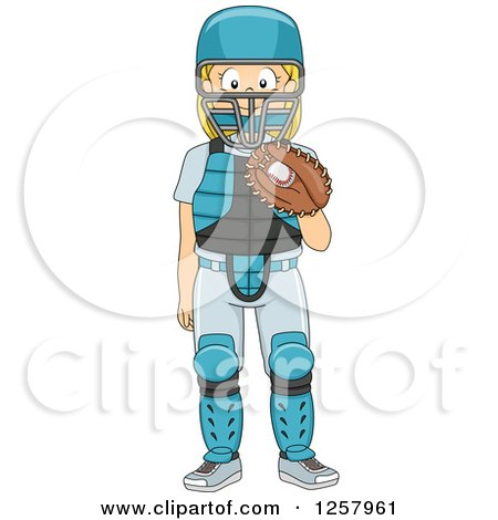 Clipart of a Happy Blond White Girl Baseball Catcher Standing - Royalty Free Vector Illustration by BNP Design Studio