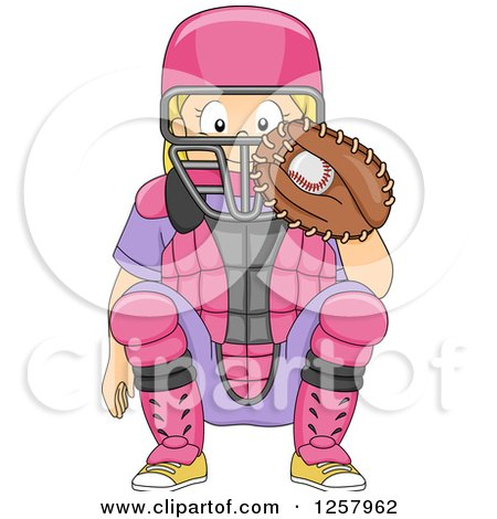 Clipart of a Happy Blond White Girl Baseball Catcher Crouching - Royalty Free Vector Illustration by BNP Design Studio