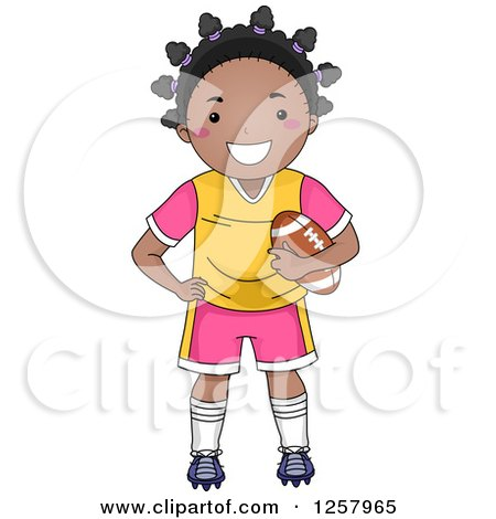 Clipart Of A Happy Black Girl Standing And Holding A Football Royalty Free Vector Illustration