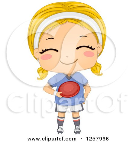 Clipart of a Happy Blond White Girl Holding a Frisbee - Royalty Free Vector Illustration by BNP Design Studio