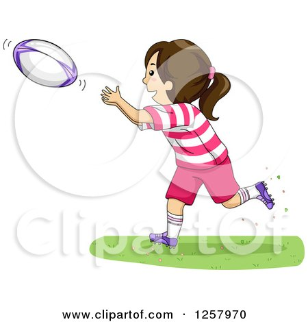 Clipart of a Happy Brunette White Girl Catching a Rugby Ball - Royalty Free Vector Illustration by BNP Design Studio