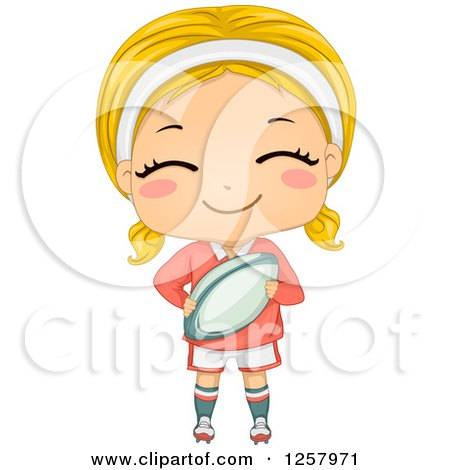 Clipart of a Happy Blond White Girl Holding a Rugby Ball - Royalty Free Vector Illustration by BNP Design Studio
