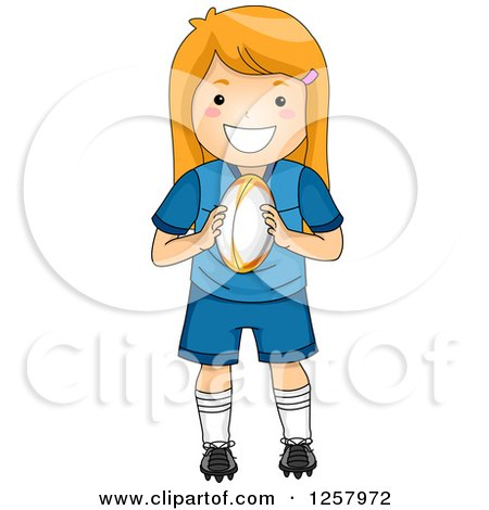 Clipart of a Happy Strawberry Blond White Girl Holding a Rugby Ball - Royalty Free Vector Illustration by BNP Design Studio