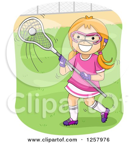 Clipart of a Happy Red Haired White Girl Playing Lacrosse - Royalty Free Vector Illustration by BNP Design Studio
