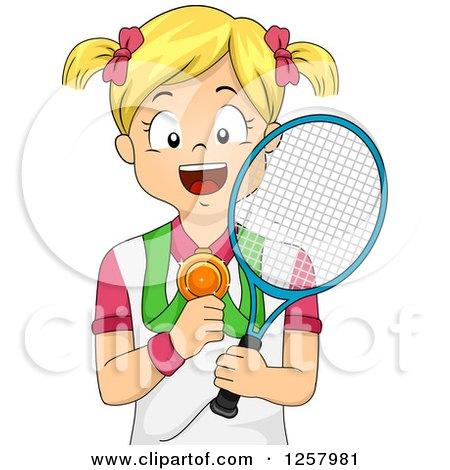 Clipart of a Happy Blond White Girl Holding a Tennis Racket and Medal - Royalty Free Vector Illustration by BNP Design Studio