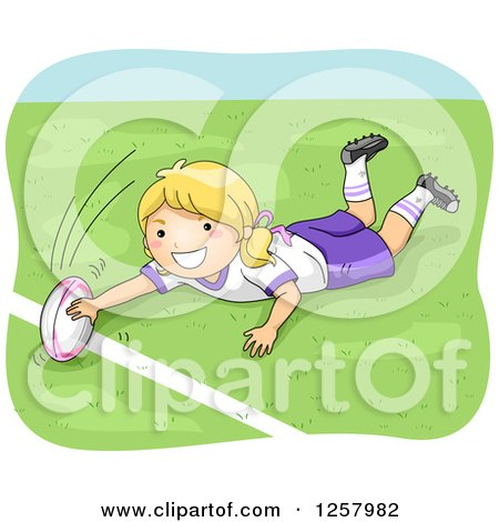 Clipart of a Happy Blond White Girl Playing Rugby - Royalty Free Vector Illustration by BNP Design Studio