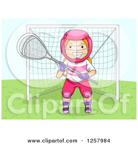 Clipart of a Happy Blond White Lacrosse Girl Goalie - Royalty Free Vector Illustration by BNP Design Studio