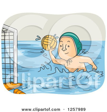 Clipart of a White Man Playing Water Polo - Royalty Free Vector Illustration by BNP Design Studio