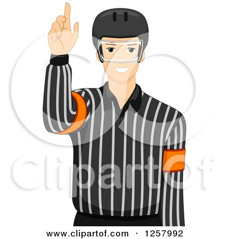 Clipart of a Young Male Ice Hockey Umpire - Royalty Free Vector Illustration by BNP Design Studio