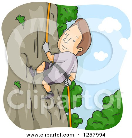Clipart of a Brunette White Man Rappelling a Cliff - Royalty Free Vector Illustration by BNP Design Studio
