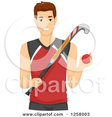 Clipart of a Young Field Hockey Man - Royalty Free Vector Illustration by BNP Design Studio