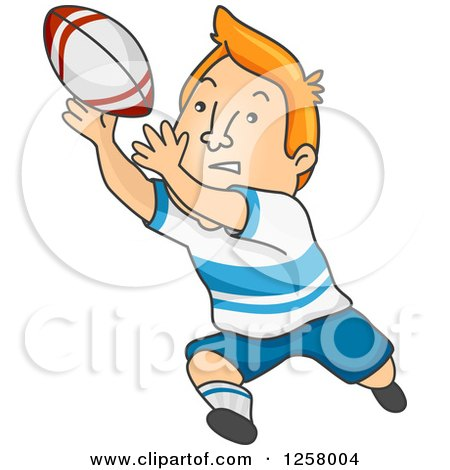 Clipart of a Red Haired White Man Catching a Rugby Ball - Royalty Free Vector Illustration by BNP Design Studio