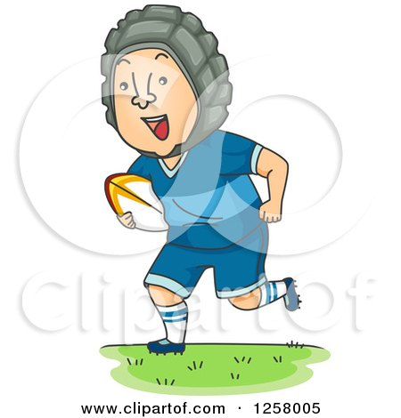 Clipart of a Competitive White Man Running with a Rugby Ball - Royalty Free Vector Illustration by BNP Design Studio