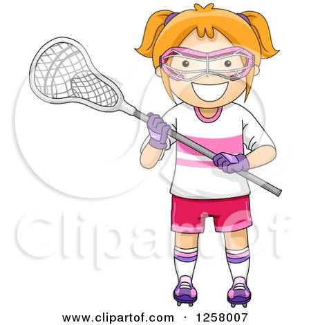 Clipart of a Happy Red Haired White Girl with Lacrosse Gear - Royalty Free Vector Illustration by BNP Design Studio