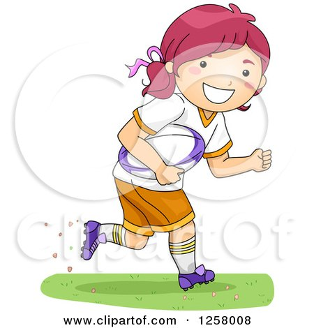 Clipart of a Happy Red Haired White Girl Running with a Rugby Ball - Royalty Free Vector Illustration by BNP Design Studio