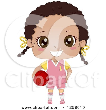 Clipart of a Cute Happy Black Girl in a Pink Uniform, Holding a Basketball - Royalty Free Vector Illustration by BNP Design Studio