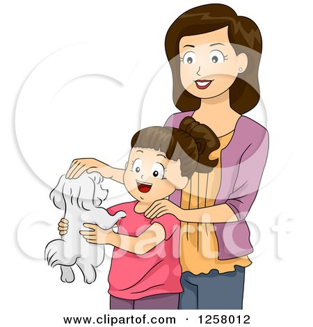 Clipart of a Happy Brunette White Mother Giving Her Daughter a Puppy - Royalty Free Vector Illustration by BNP Design Studio