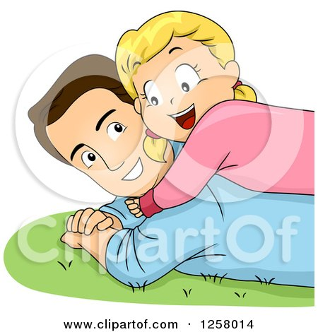 Clipart of a Happy Blond White Girl Hugging and Laying on Her Dad in the Grass - Royalty Free Vector Illustration by BNP Design Studio