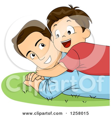 Clipart of a Happy Brunette White Boy Hugging and Laying on His Dad in the Grass - Royalty Free Vector Illustration by BNP Design Studio