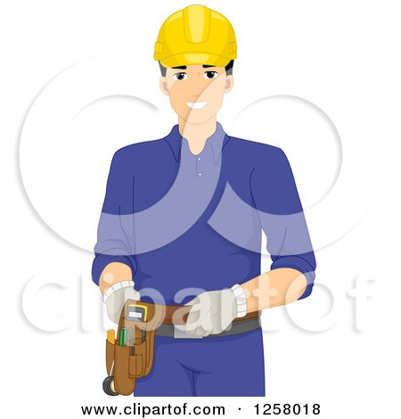 Clipart of a Happy Young Male Electrician - Royalty Free Vector Illustration by BNP Design Studio