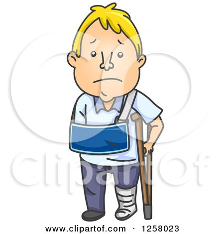 Clipart of a Sad White Man Recovering from an Injury - Royalty Free Vector Illustration by BNP Design Studio