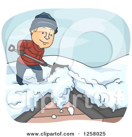 Clipart of a Happy White Man Shoveling Snow off of a Roof in the Winter - Royalty Free Vector Illustration by BNP Design Studio