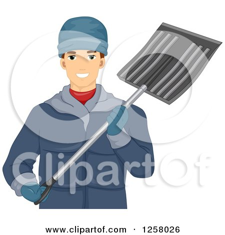 Clipart of a Happy Young White Man Holding a Snow Shovel - Royalty Free Vector Illustration by BNP Design Studio